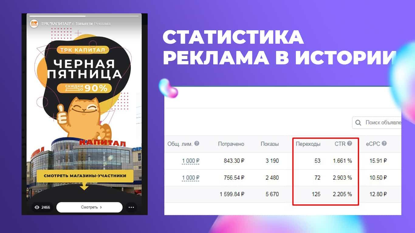 скриншот статистики из рекламного кабинета вконтакте по историям